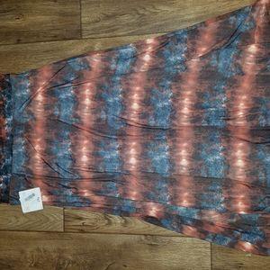 Lularoe Maxi Skirt Dress Tie Dye Blue Orange 2XL